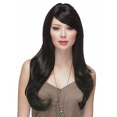 Sentetik Saç peruk Dalgalı Bonesiz Uzun Siyah