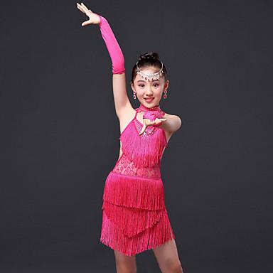 Latin Dansı Elbiseler Çocuklar için Performans Polyester 4 Parça Kolsuz Yüksek Elbise Eldivenler Neckwear