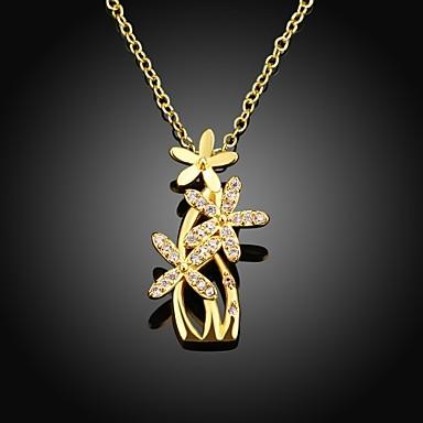 xu ™ naisten kukka timantteja 18k kullattu kaulakoru tyylikäs