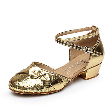 2cd25c71717 Women s Belly Shoes   Latin Shoes   Salsa Shoes Flocking Flat   Sandal  Ribbon Tie Chunky Heel Non Customizable Dance Shoes Silver   Gold 4708209  2019 – ...
