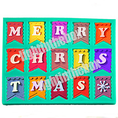 Christmas Bunting Flag Letter MERRY CHRISTMAS DIY Silicone Chocolate Pudding Sugar Cake Mold Color Random