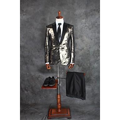 スーツ テイラーフィット ノッチドラペル シングルブレスト 一つボタン ポリエステル パターン 2点 シルバー ストレートフラップ ツータック ツータック パターン/プリント