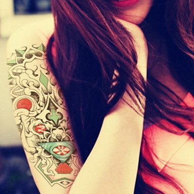 Eye Perspective To Enlarge Waterproof Flower Arm Temporary Tattoos Stickers Non Toxic Glitter