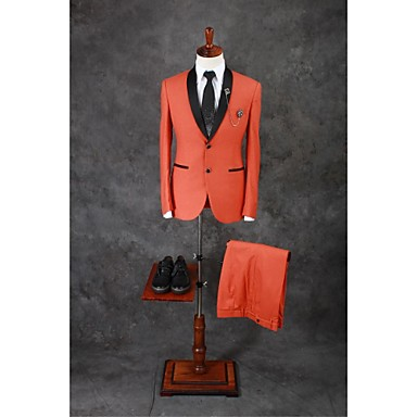 Orange Solid Tailored Fit Cotton Blend Suit - Shawl Collar Single Breasted Two-buttons