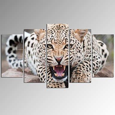 VISUAL STAR®5 Panel Leopards Printing  on Canvas Wall Art  Living Room Decor Artwork Ready to Hang