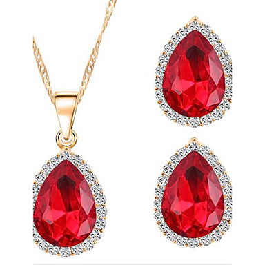 Women's Crystal Jewelry Set - Zircon, Rhinestone Include Red / Green / Blue For Wedding / Party / Daily / Earrings / Necklace