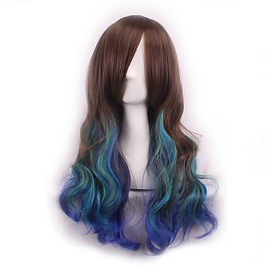 Syntetiske parykker Krøllet / Krop Bølge Asymmetrisk frisyre Syntetisk hår Naturlig hårlinje Brun Parykk Dame Lang Lokkløs Regnbue