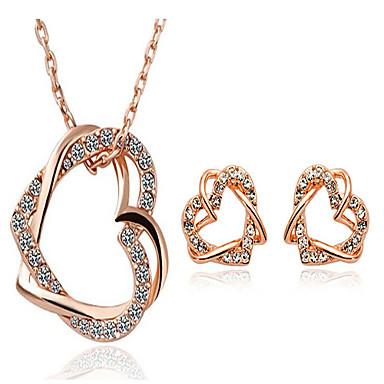Žene Komplet nakita Kubični Zirconia Umjetno drago kamenje Pozlata od crvenog zlata Srce Slatko Zabava Posao Ljubav Moda Party Special