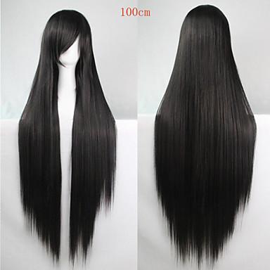 Syntetiske parykker Dame Rett Svart Asymmetrisk frisyre Syntetisk hår Naturlig hårlinje Svart Parykk Lang Lokkløs Svart