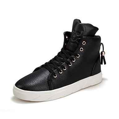 Herren-Sneaker-Outddor Lässig Sportlich-Mikrofaser-Flacher Absatz-Komfort-Schwarz Rot Weiß
