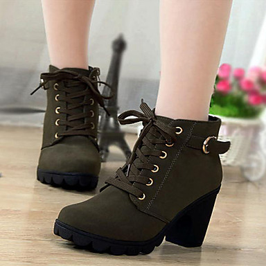 Shoes For Women Leatherette Chunky Heel Heels Heels Outdoor Casual Black Yellow