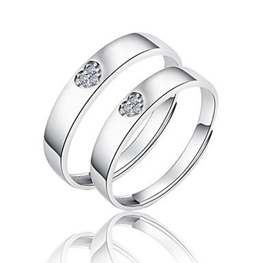 Casal Prata de Lei Anéis de Casal - Fashion Prata Anel Para Casamento / Festa / Diário