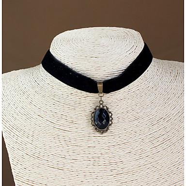 Női Rövid nyakláncok Gótikus Ékszerek Zafír Drágakő Természetes fekete Drágakő Bolyhos pamutszövet Rövid nyakláncok Gótikus Ékszerek ,