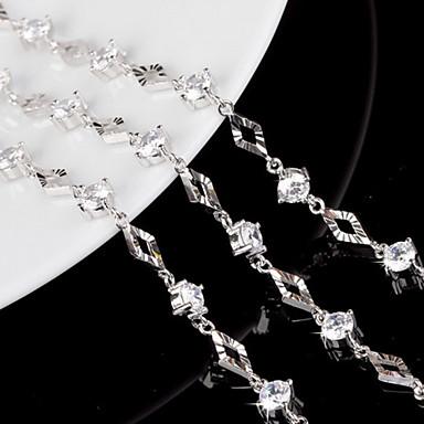 Kadın's Zincir & Halka Bileklikler Tılsım Bileklikler Som Gümüş Mücevher Düğün Parti Günlük Kostüm takısı