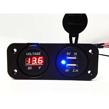 Double USB 2.0 Port Car Charger with LED Voltage Indicator LCD Screen