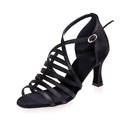 נעליים לטיניות סטן סנדלים עקב רחב מותאם אישית נעלי ריקוד כסף / חום / אדום / הצגה / עור