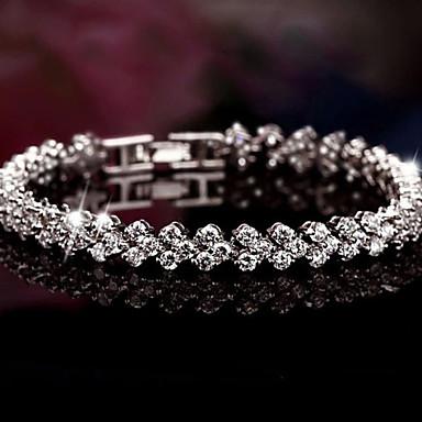 levne Dámské šperky-Dámské Kubický zirkon drobný diamant Náramky s přívěšky Kotníkové náramky Tenisové Náramky dámy Luxus Pro nevěstu Festival / Svátek Na každý den Stříbro Náramek šperky Stříbrná Pro Vánoční dárky
