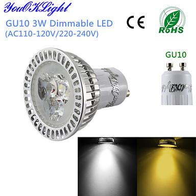 3W GU10 LED szpotlámpák G50 3 Nagyteljesítményű LED 300 lm Meleg fehér / Hideg fehér Állítható / Dekoratív AC 220-240 / AC 110-130 V 1 db.
