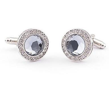 yuvarlak gri beyaz crytal gümüş erkek kol düğmeleri parti gömlek kol düğmeleri düğün