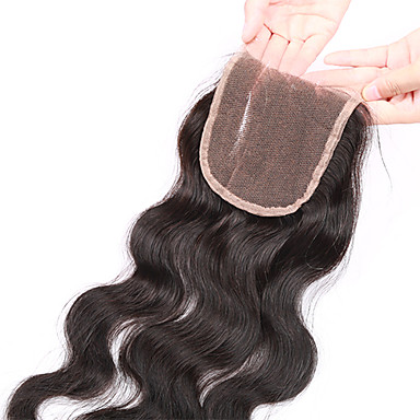 8-20inch Natural Black Hand Tied Body Wave Human Hair Closure Medium Brown Swiss Lace 20-60g gram Petite / Average / Large Cap Size
