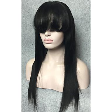 düzgün patlama ön peruk dantel yumuşak Brezilyalı saç ön dantel peruk, siyah düz kadınlar için insan saçı peruk 14-24inches