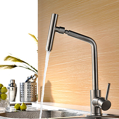 Contemporary Bar/Prep Deck Mounted Rotatable Ceramic Valve Single Handle One Hole Stainless Steel, Kitchen faucet
