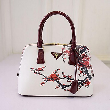 Women's Bags PU Tote for Casual Outdoor All Seasons White Black Purple Green