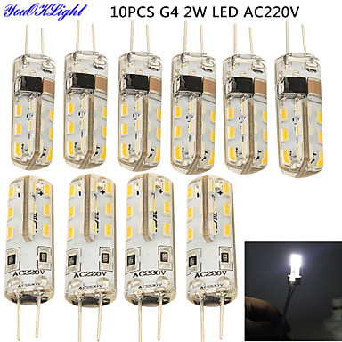 YouOKLight 10pcs 2W 150-200lm G4 LED Bi-pin Işıklar T 24 LED Boncuklar SMD 3014 Dekorotif Serin Beyaz 220-240V