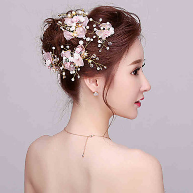 Pinky Flower Girl's Imitation Pearl / Fabric Headpiece - Wedding / Special Occasion Flowers with Crystals(4 Pieces/set)