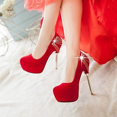 Magassarkú / Kerek orrú - Stiletto - Női cipő - Magassarkú - Esküvői / Alkalmi / Party és Estélyi - Bőrutánzat - Fekete / Piros / Fehér
