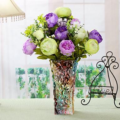 Yapay Çiçekler 1 şube Pastoral Stil Şakayıklar Masaüstü Çiçeği