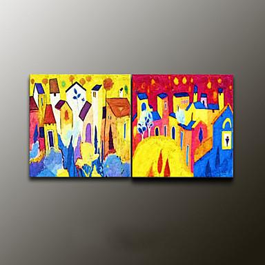 Kézzel festett LandscapeModern Két elem Vászon Hang festett olajfestmény For lakberendezési