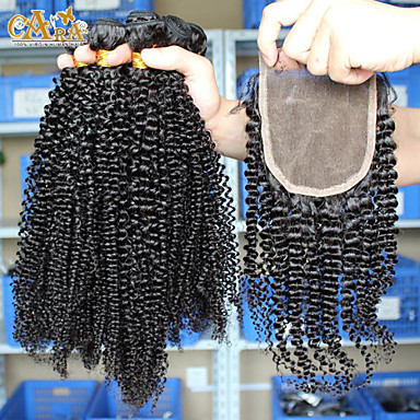 Malaysian Hair Weft with Closure Loose Wave Curly Weave Hair Extensions 4 Pieces Black natural black
