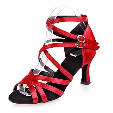Women's Latin Shoes Satin Sandal Buckle Flared Heel Non Customizable Dance Shoes Silver / Brown / Gold / Indoor / Performance / Leather / Practice