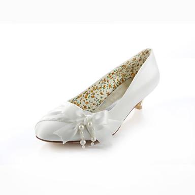 Mulheres Sapatos Seda Primavera / Verão Salto Baixo Pérolas / Cadarço de Borracha Ivory / Casamento / Festas & Noite