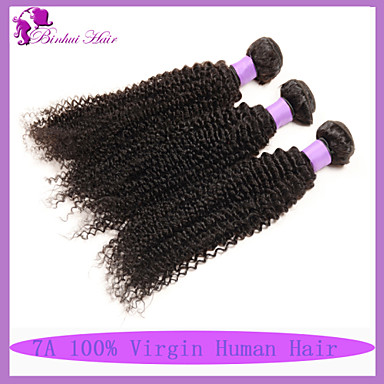 Υφάνσεις ανθρώπινα μαλλιών Βραζιλιάνικη Kinky Curly 6 Μήνες 3 Κομμάτια υφαίνει τα μαλλιά
