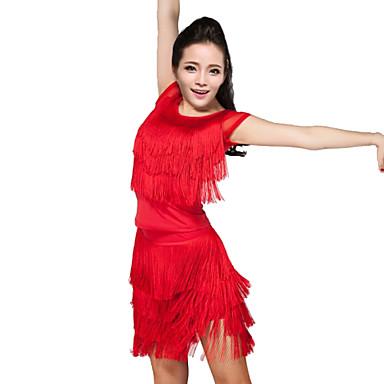 Női - Latin tánc / Samba - Felszerelések ( Fekete / Bíbor / Piros , Spandex / Poliészter , Bojt(ok) )