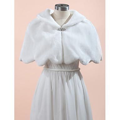 Sleeveless Faux Fur Wedding / Party Evening Wedding  Wraps / Fur Wraps With Rhinestone Capelets