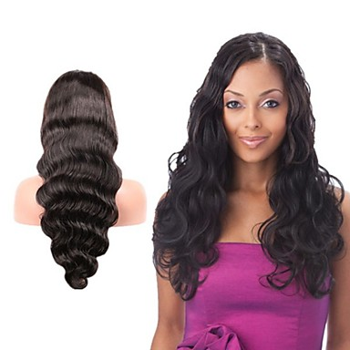 Human Hair Lace Wig Body Wave Lace Front Glueless Lace Front 100% Hand Tied African American Wig Natural Hairline 130% Density Dark Black