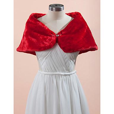Sleeveless Faux Fur Wedding / Party Evening Wedding  Wraps With Rhinestone Capelets