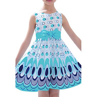 Χαμηλού Κόστους Ρούχα για Κορίτσια-Νήπιο Κοριτσίστικα Ενεργό Γλυκός Καθημερινά Συνδυασμός Χρωμάτων Φιόγκος Στάμπα Αμάνικο Φόρεμα Κίτρινο