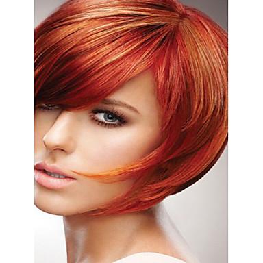 Syntetiske parykker Rett Syntetisk hår Rød Parykk Kort Lokkløs