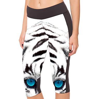 Kadın's Spor Taytları Legginsy do biegania Stretch Sıkıştırma Tozluklar Pantalonlar 3/4 Tayt Alt Giyimler Yoga Fitness Koşma Polyester