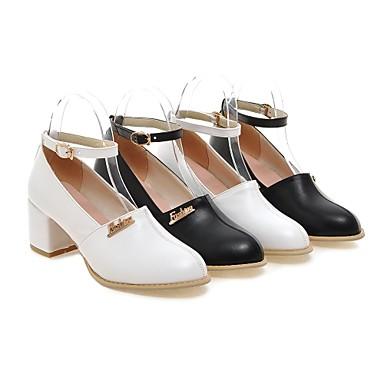 04792487 Talon Chaussures Décontracté Similicuir Femme Automne Blanc Pour Noir Bottier Printemps xIvpdvnwqO