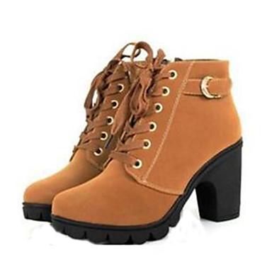 billiga Bästsäljande-Dam Block Heel Boots Bastant klack Snörning Konstläder 20.32-25.4 cm / Stövletter Militärkängor Höst / Vinter Gul / Röd / Grön / EU39