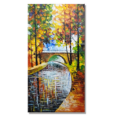 Hand-Painted Landscape Vertical Panoramic, Modern Canvas Oil Painting Home Decoration One Panel