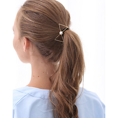 Women Fashion Casual Sweet Pearl Golden Alloy Bow Hair Ties Hair Accessories 1pc