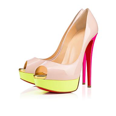 Mulheres Sapatos Couro Envernizado Primavera Verão Salto Agulha Peep Toe Combinação para Casamento Casual Festas & Noite Arco-Íris