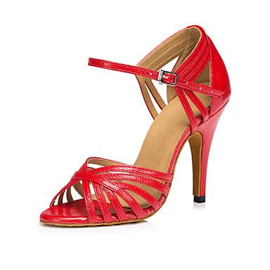 1ce22e11150ae Women s Latin Salsa Leather Heel Indoor Performance Professional Beginner  Practice Sequin Buckle Stiletto Heel Red Blue Gold Non 4781017 2019 –  29.99