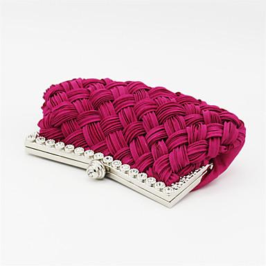 billige Vesker-Dame Krystalldetaljer Satin Clutchveske / Aftenveske / Kosmetisk Bag Rhinestone Crystal Evening Bags Ensfarget Fuksia / Rød / Mandel / Høst vinter